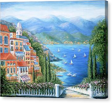 Italian Village By The Sea Canvas Print by Marilyn Dunlap
