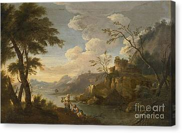 Italianate Landscape With Peasants Resting In The Foreground Canvas Print by Celestial Images