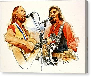 Its Country - 7  Waylon Jennings Willie Nelson Canvas Print by Cliff Spohn
