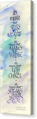 It's Music Canvas Print by Judy Dodds