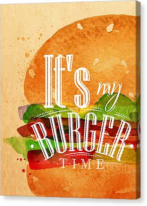 It's My Burger Time Canvas Print by Aloke Design