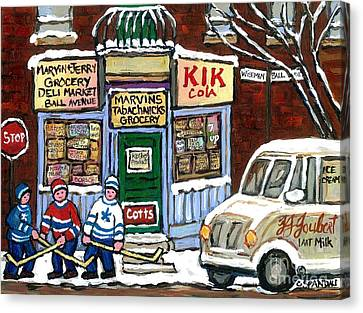J J Joubert Vintage Milk Truck At Marvin's Grocery Montreal Memories Street Hockey Best Hockey Art Canvas Print by Carole Spandau
