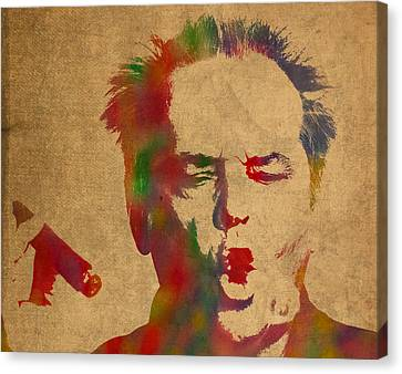 Jack Nicholson Smoking A Cigar Blowing Smoke Ring Watercolor Portrait On Old Canvas Canvas Print by Design Turnpike