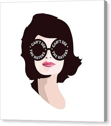 Jackie Can't See The Haters Canvas Print by Lauren Amelia Hughes