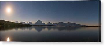 Jackson Lake Moon Canvas Print by Darren White