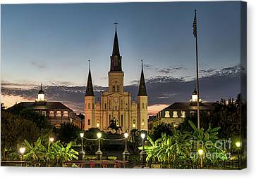Jackson Square At Dusk Canvas Print by Tod and Cynthia Grubbs