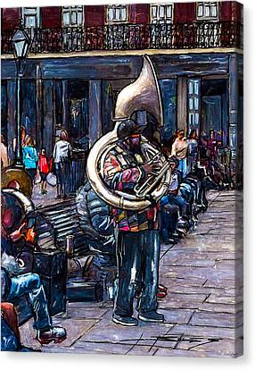 Jackson Square Bass Horn Player Canvas Print by John Boles
