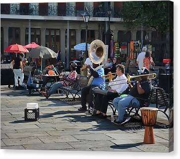 Jackson Square Musicians - New Orleans Canvas Print by Greg Jackson