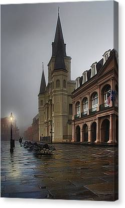 Jackson Square - St. Louis Cathedral - Dawn In New Orleans Canvas Print by Mitch Spence