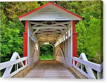 Jackson's Mills Covered Bridge Canvas Print by Lisa Wooten