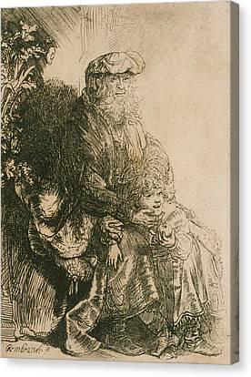 Jacob Caressing Benjamin Canvas Print by Rembrandt
