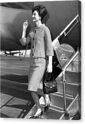Jacqueline Kennedy Deplanes In New York Canvas Print by Everett