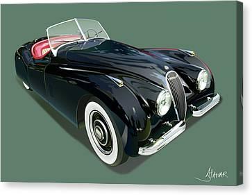 Jaguar Xk 120 Illustration Canvas Print by Alain Jamar