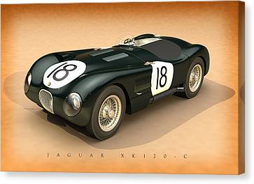 Jaguar Xk120-c Three-quarters Canvas Print by Pete Chadwell