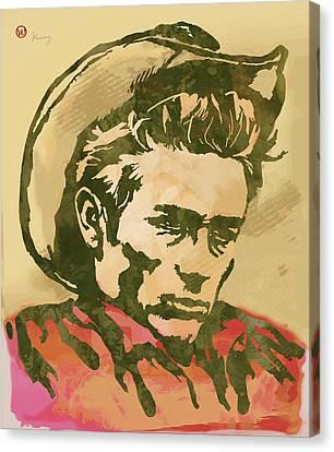 James Dean  -  Etching Pop Art Poster Canvas Print by Kim Wang