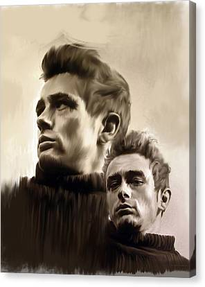 James Dean  Duality II Canvas Print by Iconic Images Art Gallery David Pucciarelli