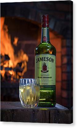 Jameson By The Fire Canvas Print by Rick Berk