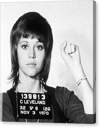 Jane Fonda Mug Shot Vertical Canvas Print by Tony Rubino