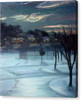 January Ball Field Canvas Print by Sarah Yuster