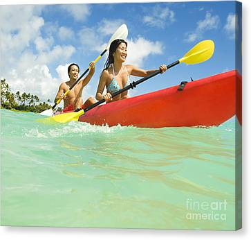 Japanese Couple Kayaking Canvas Print by Dana Edmunds - Printscapes