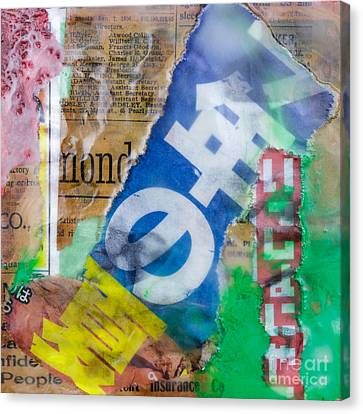 Japanese Newspaper Encaustic Mixed Media Canvas Print by Edward Fielding
