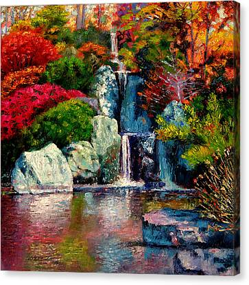 Japanese Waterfall Canvas Print by John Lautermilch