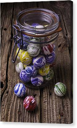 Jar Of Rubber Balls Canvas Print by Garry Gay