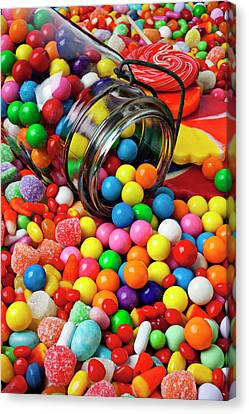 Jar Spilling Bubblegum With Candy Canvas Print by Garry Gay