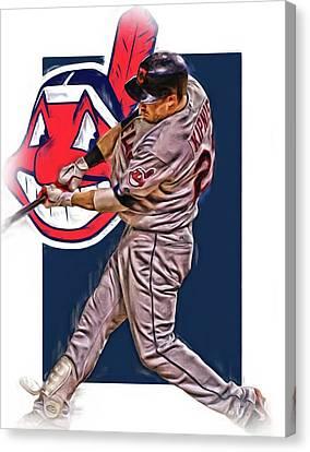 Jason Kipnis Cleveland Indians Oil Art 2 Canvas Print by Joe Hamilton