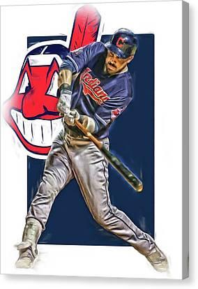 Jason Kipnis Cleveland Indians Oil Art Canvas Print by Joe Hamilton