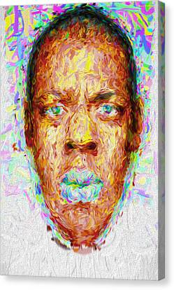 Jay Z Painted Digitally 2 Canvas Print by David Haskett