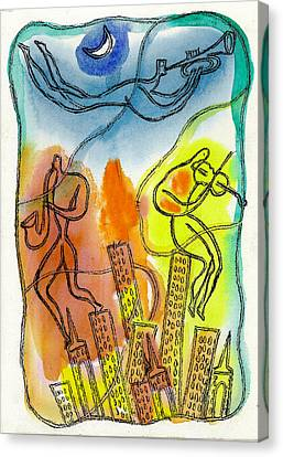 Jazz And The City 3 Canvas Print by Leon Zernitsky