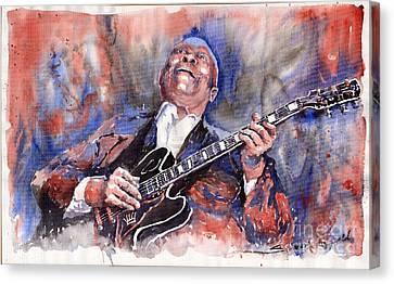 Jazz B B King 05 Red A Canvas Print by Yuriy  Shevchuk