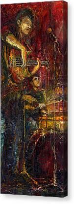 Jazz Bass Guitarist Canvas Print by Yuriy  Shevchuk