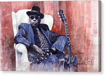 Jazz Bluesman John Lee Hooker 02 Canvas Print by Yuriy  Shevchuk