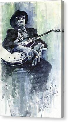 Jazz Bluesman John Lee Hooker 04 Canvas Print by Yuriy  Shevchuk