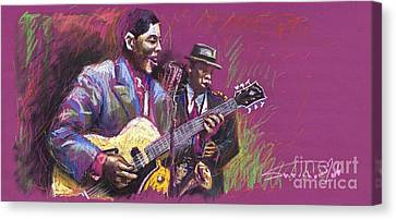 Jazz Guitarist Duet Canvas Print by Yuriy  Shevchuk