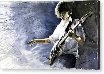 Jazz Guitarist Last Accord Canvas Print by Yuriy  Shevchuk
