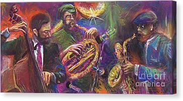 Jazz Jazzband Trio Canvas Print by Yuriy  Shevchuk