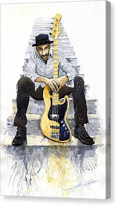 Jazz Marcus Miller 4 Canvas Print by Yuriy  Shevchuk