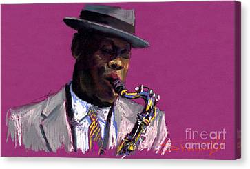 Jazz Saxophonist Canvas Print by Yuriy  Shevchuk