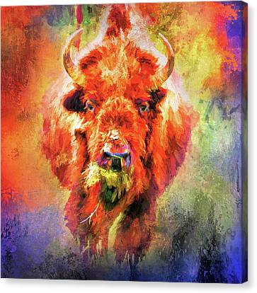 Jazzy Buffalo Colorful Animal Art By Jai Johnson Canvas Print by Jai Johnson