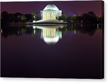 Jefferson Memorial Across The Pond At Night 4 Canvas Print by Val Black Russian Tourchin