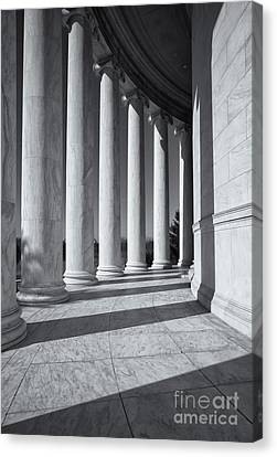 Jefferson Memorial Columns And Shadows Canvas Print by Clarence Holmes
