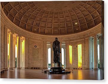 Jefferson Memorial In Morning Light Canvas Print by Andrew Soundarajan