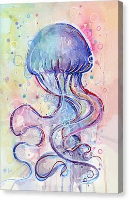 Jelly Fish Watercolor Canvas Print by Olga Shvartsur