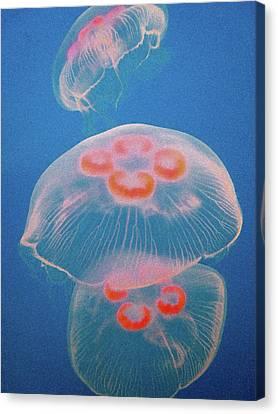 Jellyfish On Blue Canvas Print by Sally Crossthwaite