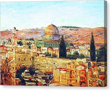 Jerusalem And The Dome Canvas Print by Munir Alawi