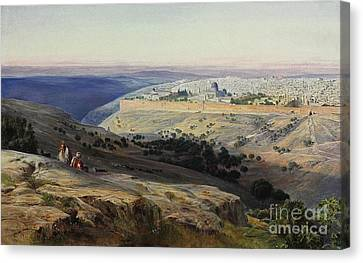 Jerusalem From The Mount Of Olives Sunrise Canvas Print by Celestial Images