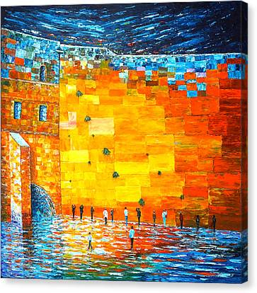 Jerusalem Wailing Wall Original Acrylic Palette Knife Painting Canvas Print by Georgeta Blanaru